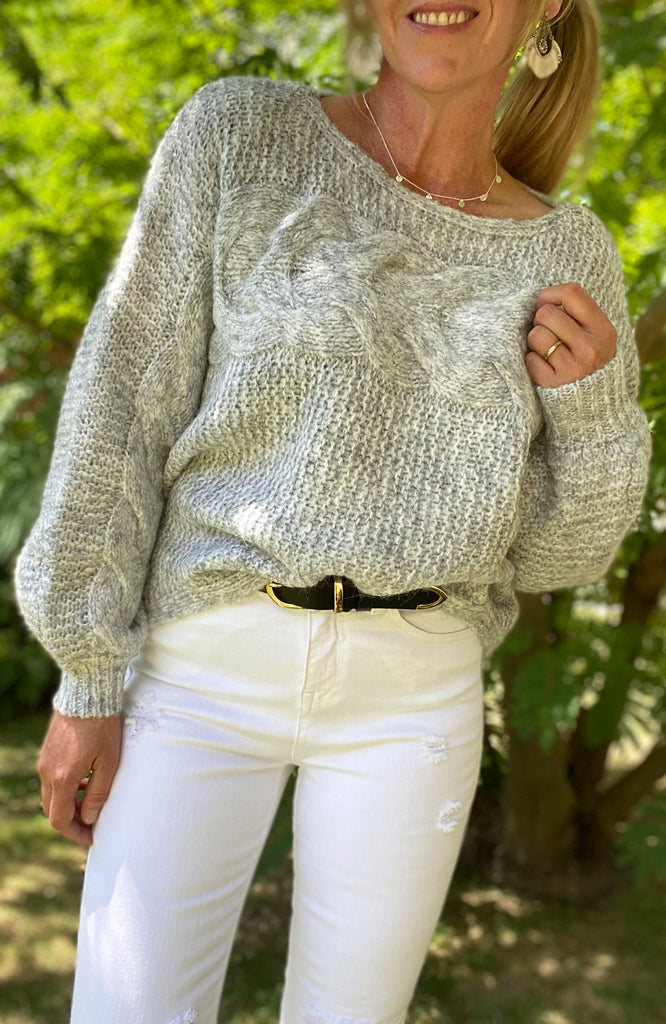 MANDY BOATNECK SWEATER - GREY MARLE