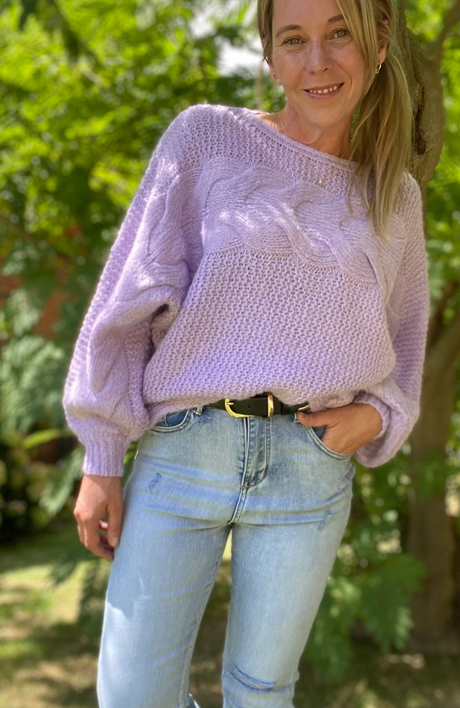 MANDY BOATNECK SWEATER - LILAC