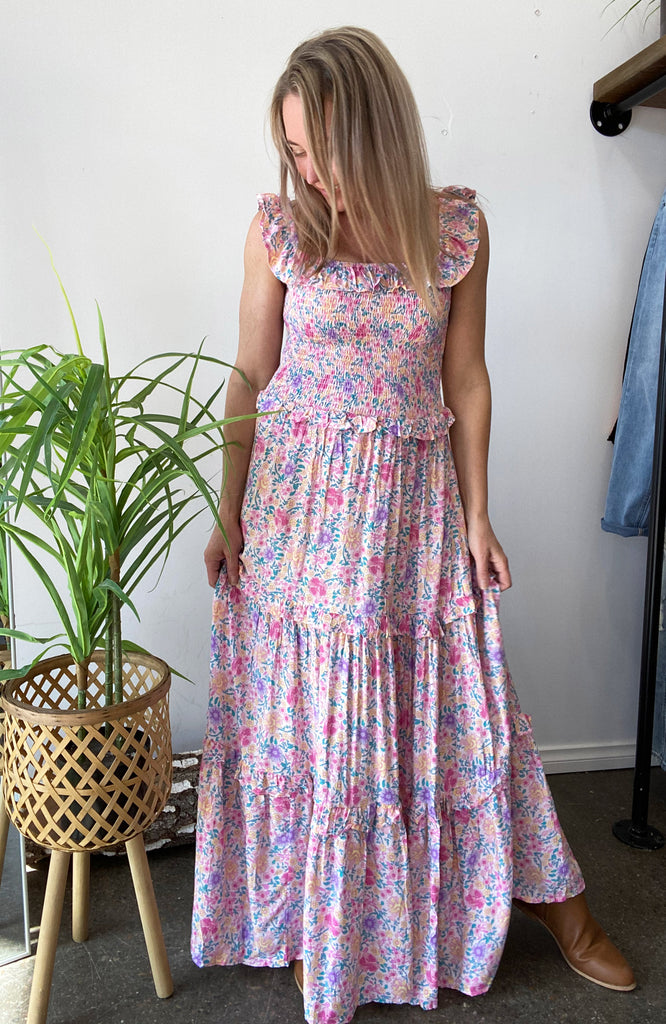 MISSY SHIRRED MAXI DRESS - PINK FLORAL