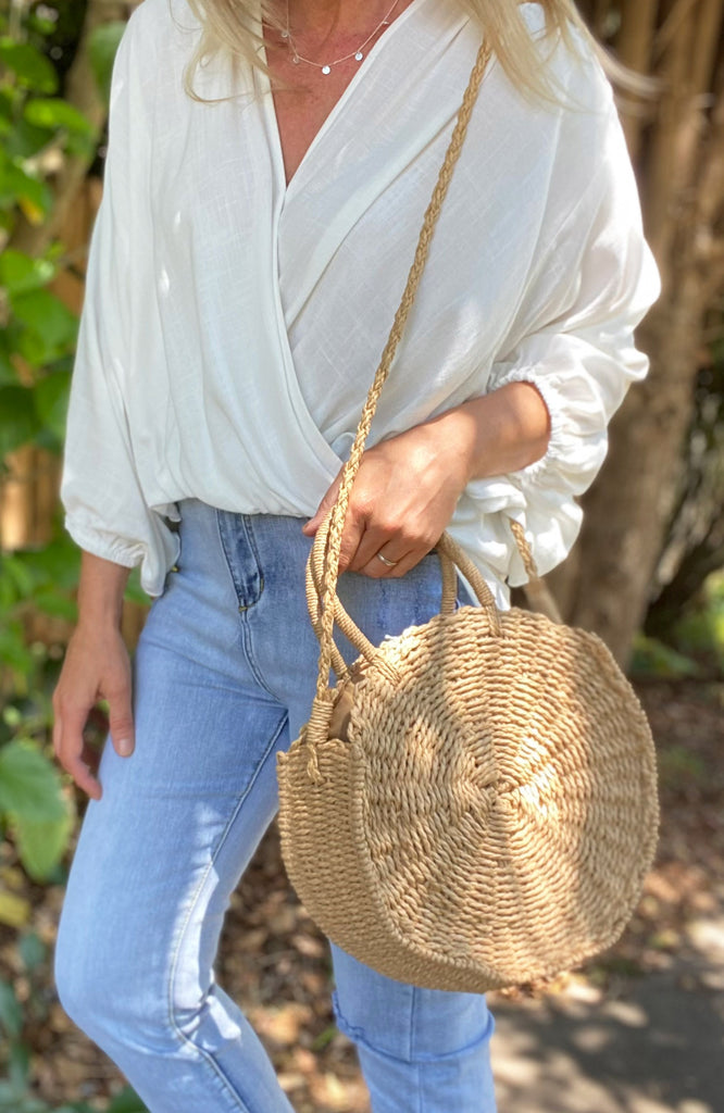 SASHI ROUND STRAW BAG - TAN