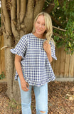 SOFIE LINEN FRILL TOP - NAVY CHECK