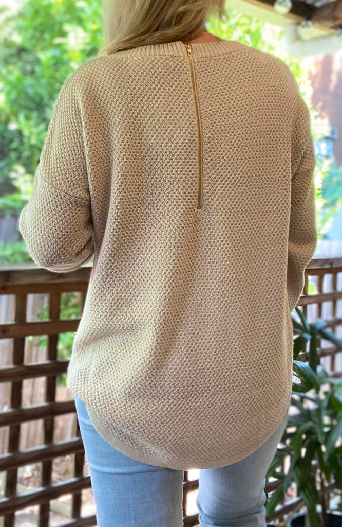 ZIP BACK COTTON JUMPER - OATMEAL