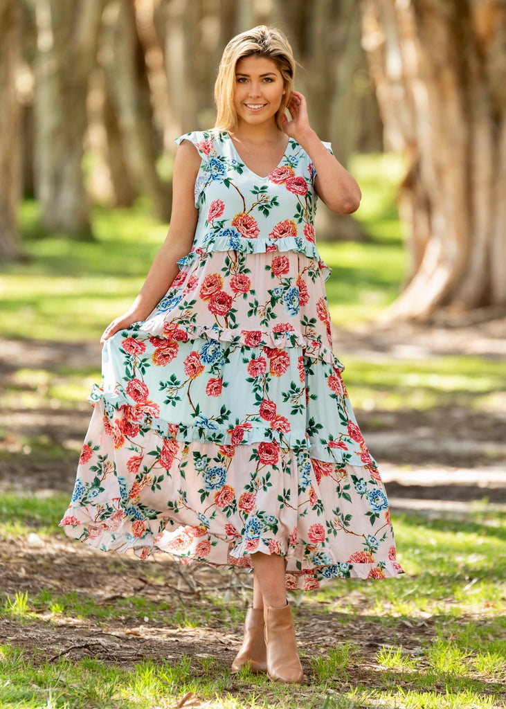 CHRISTABELL MAXI DRESS - MINT/PINK FLORAL