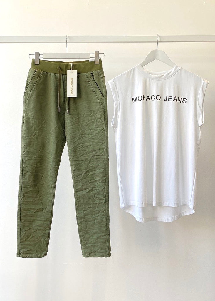 RILEY DENIM JOGGERS - KHAKI
