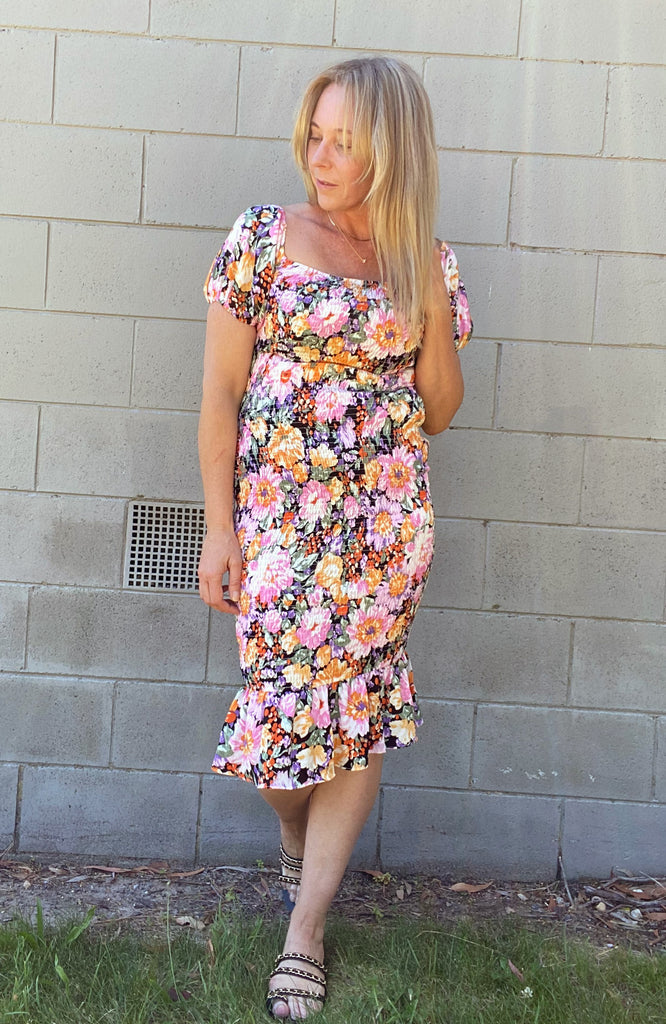 ERIN DRESS - BLACK FLORAL MULTI