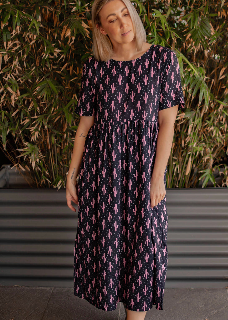 JOCELYN DRESS - NAVY / PINK PRINT