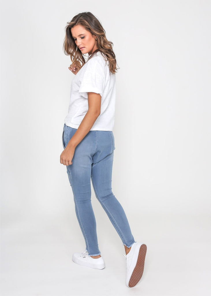 LILLY DROP CROTCH PANT- BLUE WASH