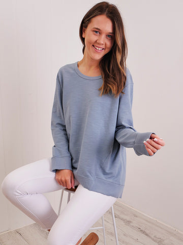 KRYSTAL BUTTON KNIT - GREY