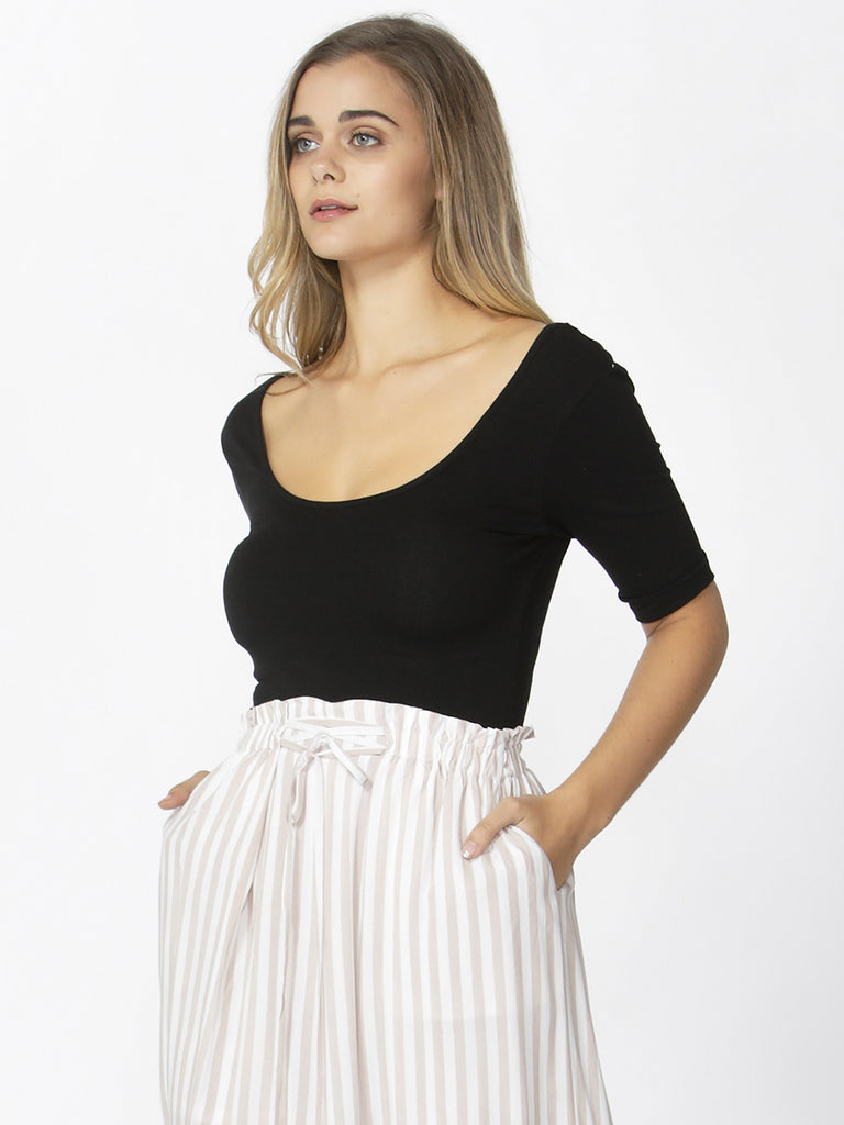 BALLET SCOOP TOP - BLACK