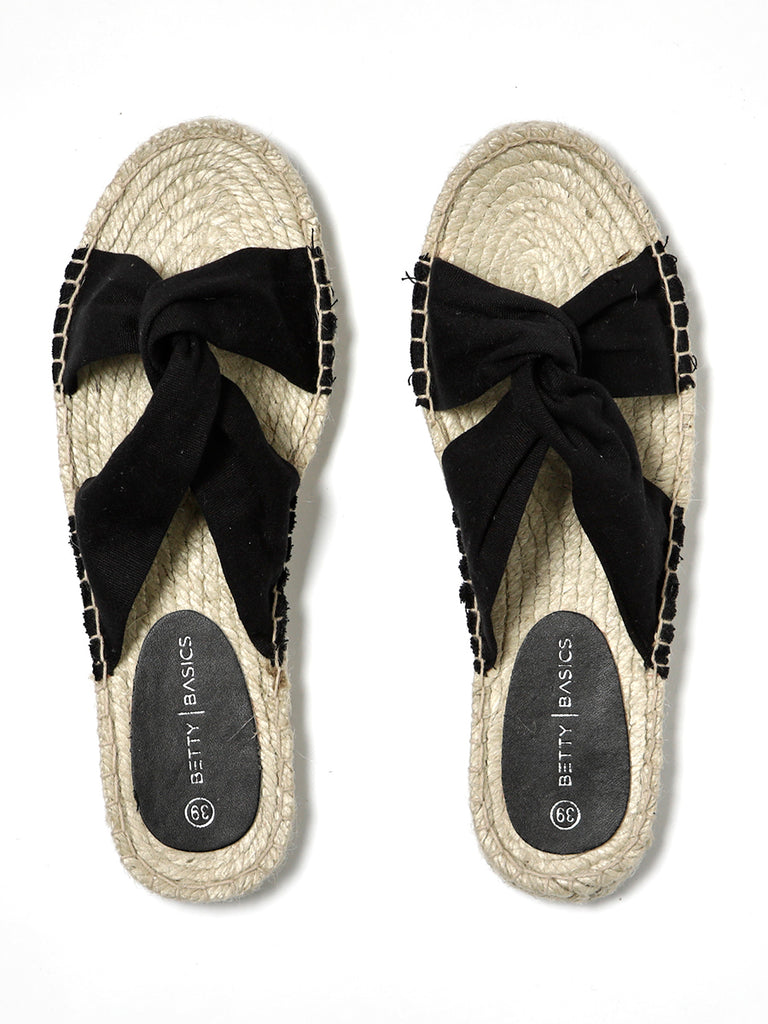 COASTAL ESPADRILLE SLIDE - BLACK