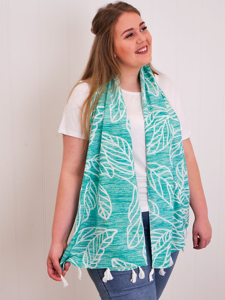 INDIANNA TASSEL SCARF - WASHED JADE