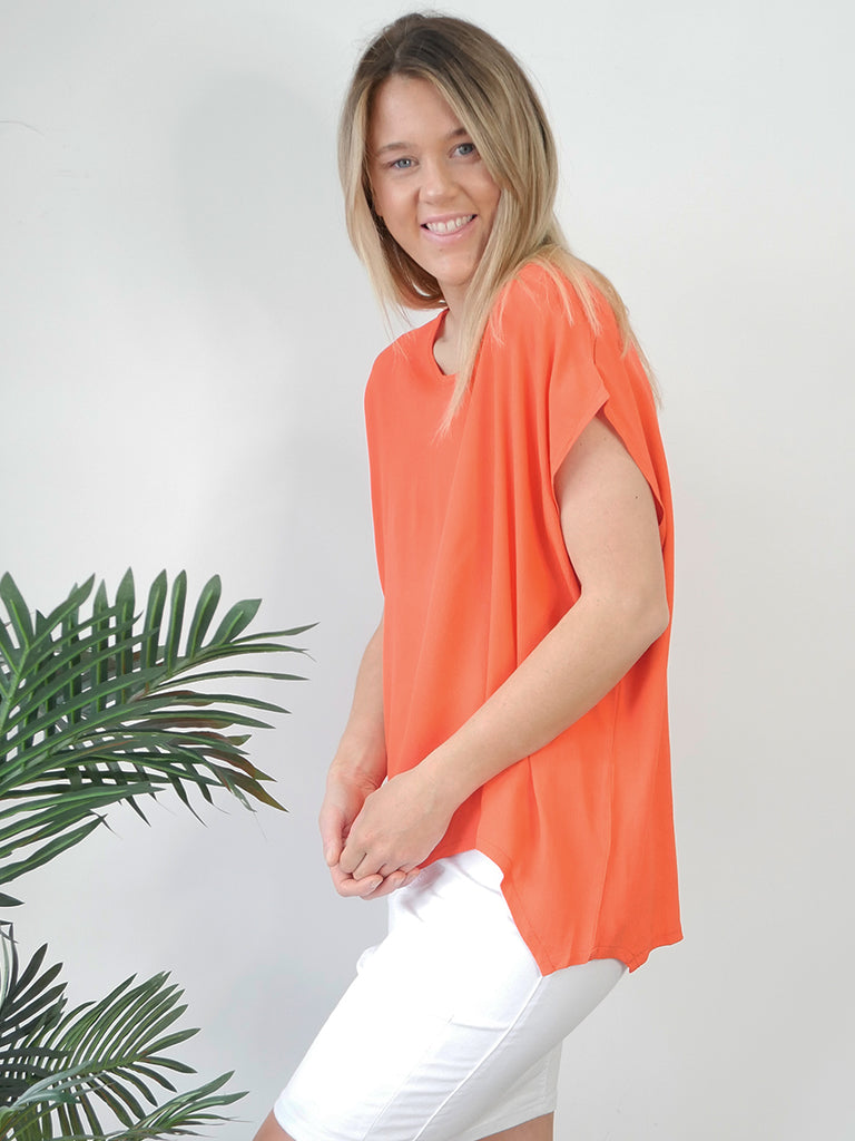 JANE SCOOP TOP - CORAL