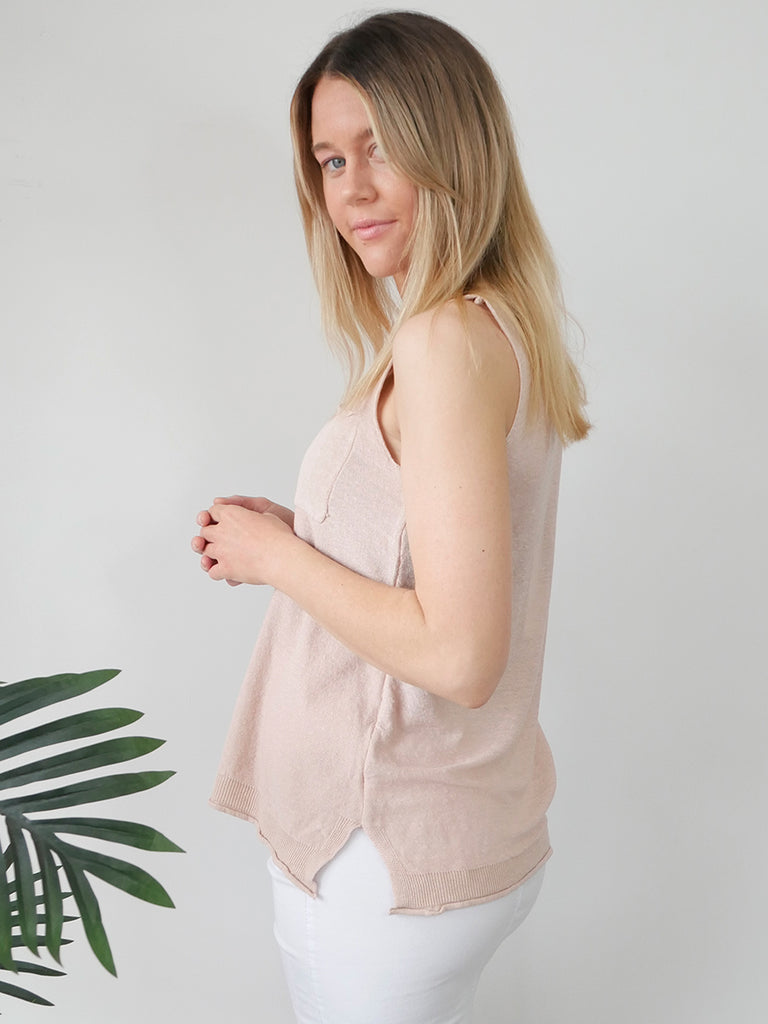 POCKET KNIT TANK - BLUSH