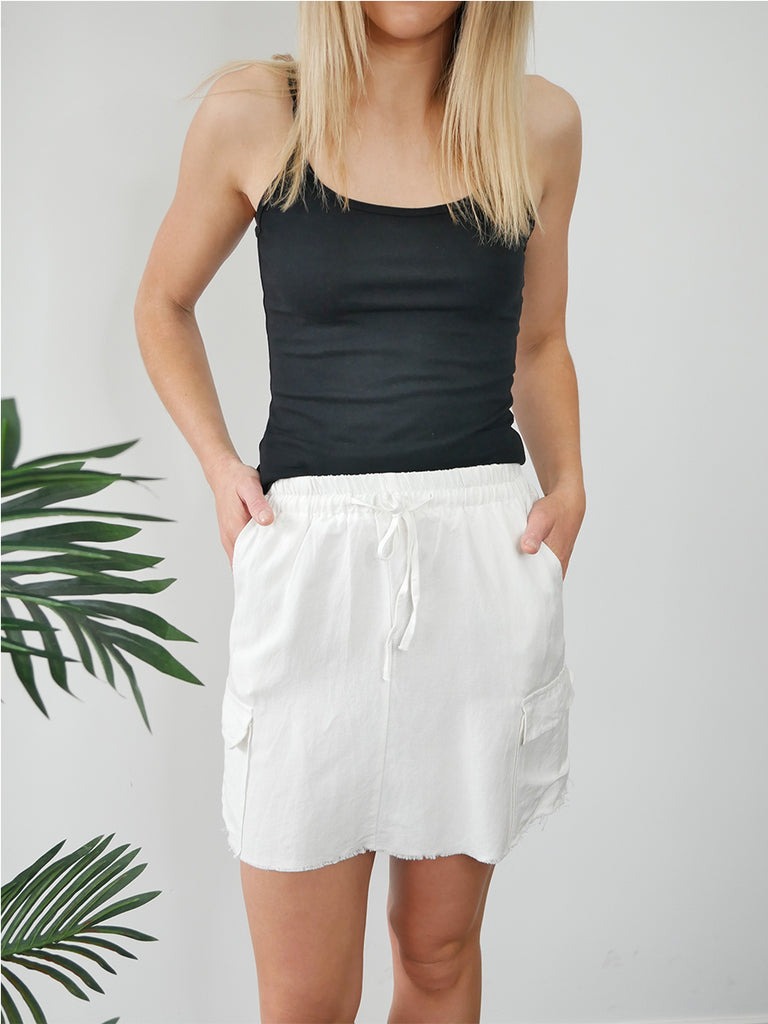 POCKET MINI SKIRT - IVORY