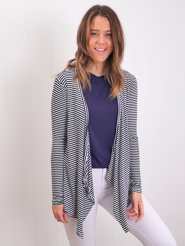 MELBOURNE CARDIGAN - NAVY BLUE / WHITE STRIPE