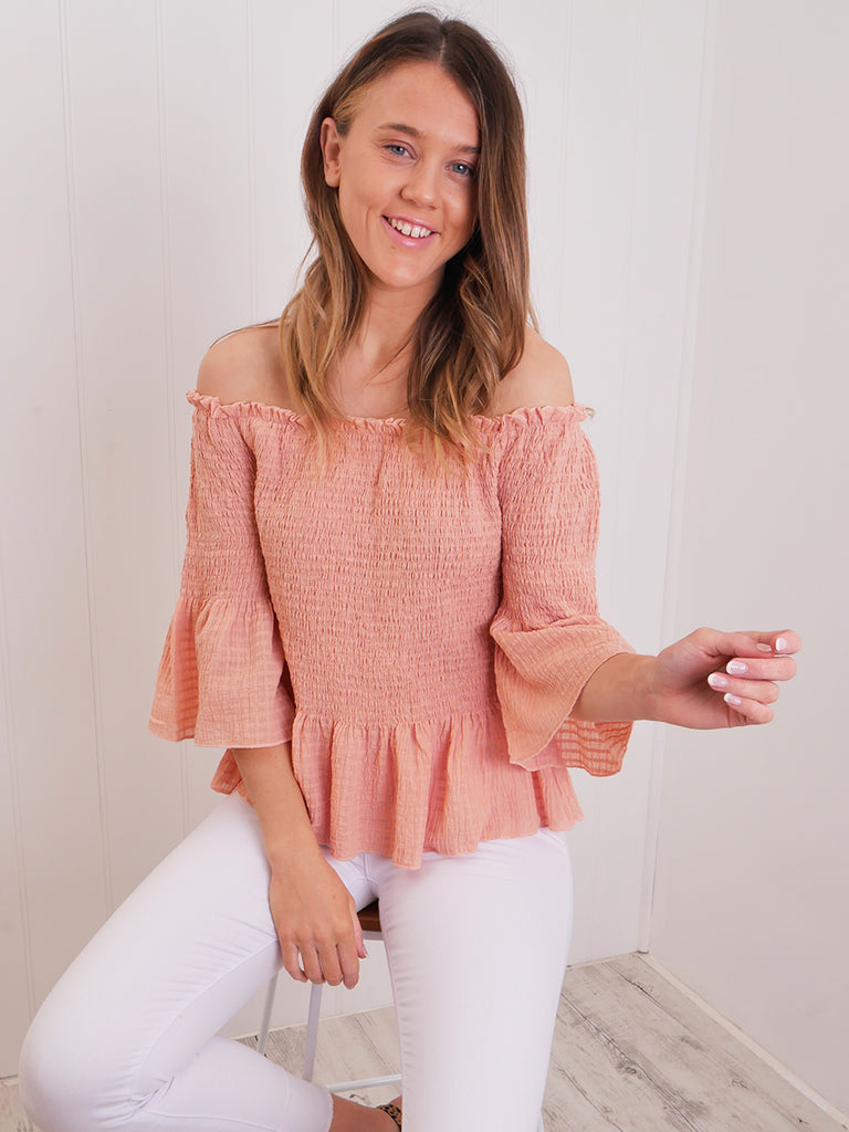 BROOKE SHIRRED TOP - BLUSH