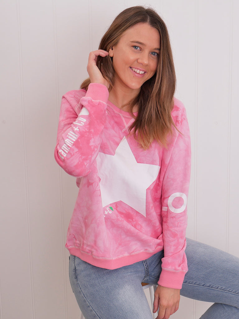 STAR TIE-DYE SWEAT - PINK