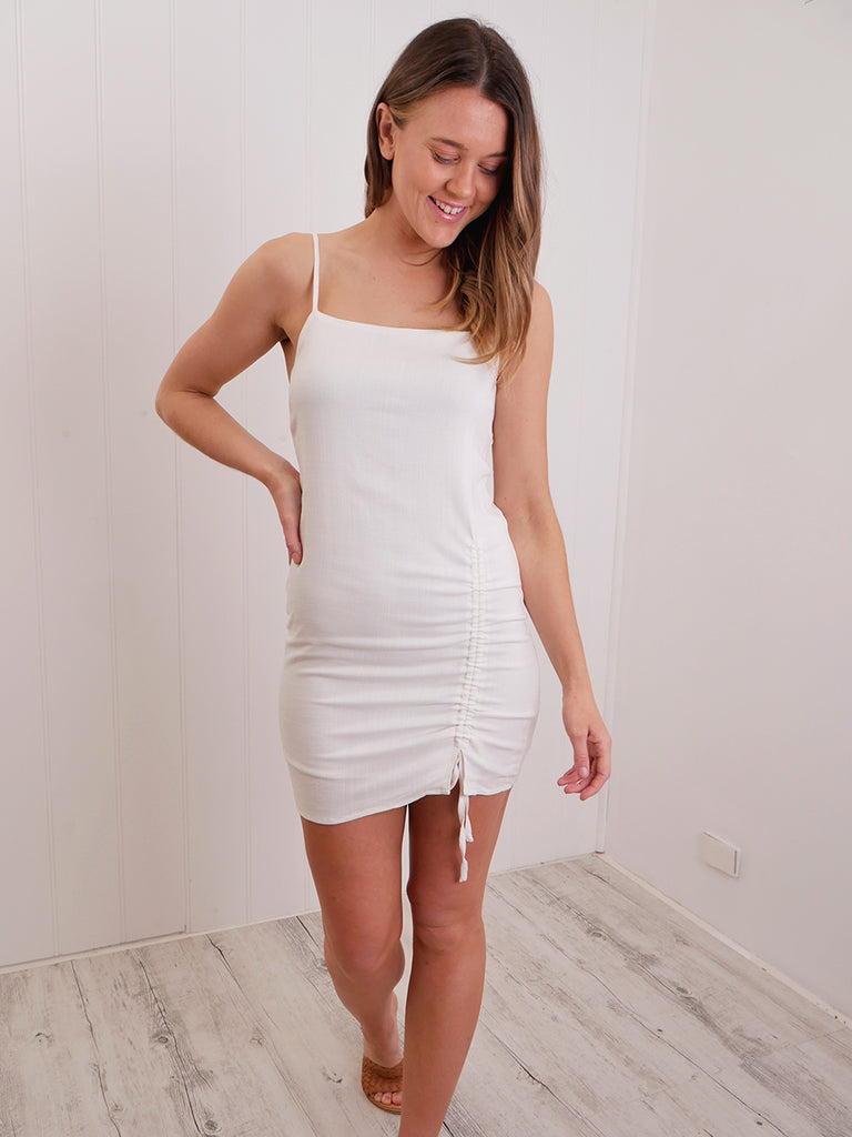 ROUCHED DRESS - WHITE