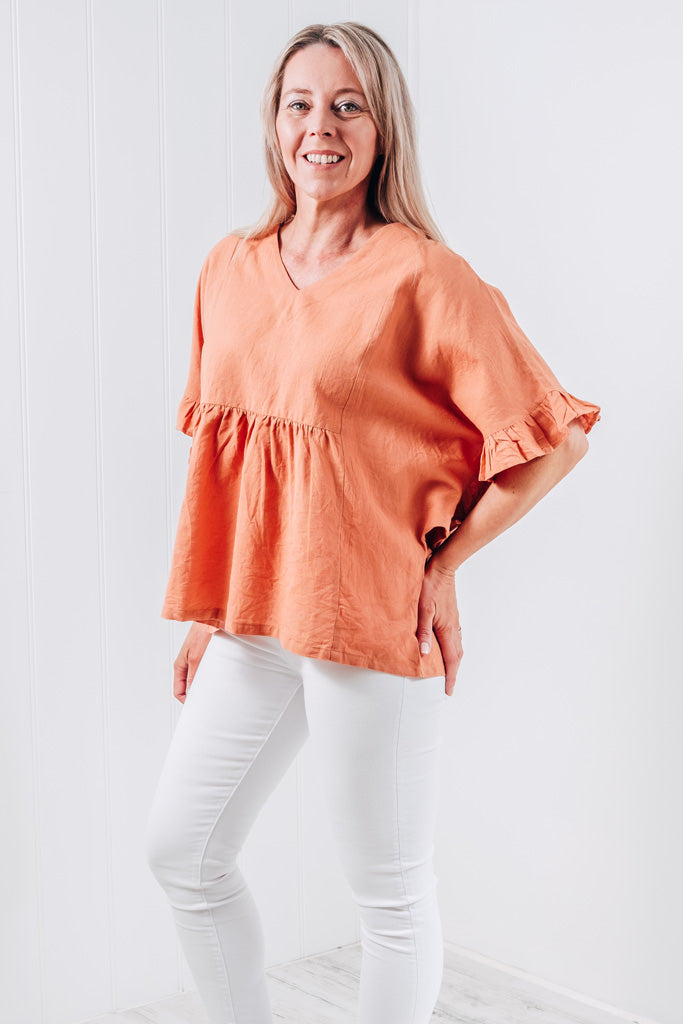 TIANNA RUFFLE SLEEVE TOP - SWEET ORANGE