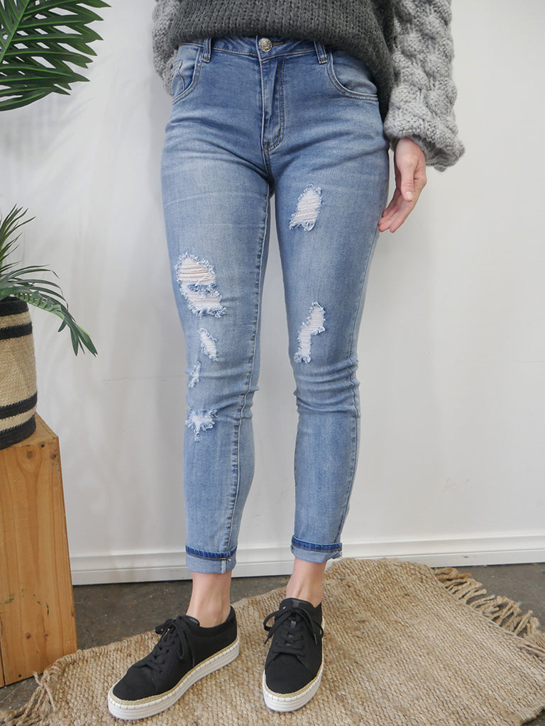 TYLER DISTRESSED DENIM- BLUE WASH
