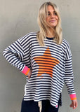 STRIPE SLOUCHY WAFFLE TOP
