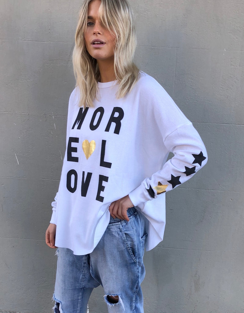 MORE LOVE WAFFLE TOP - WHITE