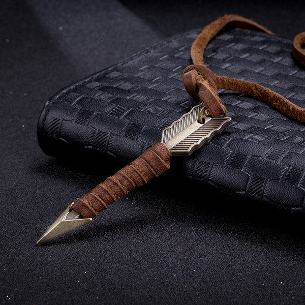 Leather Native American Inspired Arrow Necklace - Men's Fad