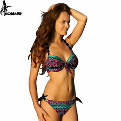EONAR Print Floral Swimsuits Brazilian Push Up Bikini Set Retro Bathing Suits Plus Size Swimwear