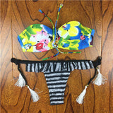 2017 Summer Style Floral Print Women Bikinis Set Crochet Lace Swimsuit Strapless Push Up Bandeau Biquinis Beachwear Bathing Suit