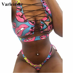 New African Sexy Thong Bikini Lace Up Swimwear Women Bikini Set Two Pieces Swimsuit Biquini Bathing Suit