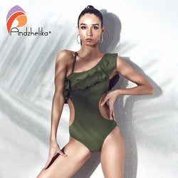 Sexy One Piece One Shoulder Swimsuit Ruffle Women Swimwear Bodysuits Hollow Out Bathing Suit Monokini