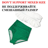 High Waist Swimwear Bikini Vintage Retro Push Up Swimsuit Bathing Suit Green ruffle Beachwear