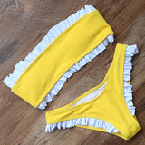 Strapless Bikini Push Up Padded Swimsuits Knot Front Low Waist Biquini Swimwear Women Solid Bikini Set Beachwear Swimming