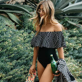 Summer Lace Off Shoulder Push Up Sexy One Pieces Swimwear Women Jumpsuit Swimsuit Bathing Suit Sleeveless Bikinis