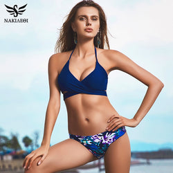 2cec9284d7 NAKIAEOI 2018 Sexy Cross Brazilian Bikinis Women Swimwear Swimsuit Push Up  Bikini Set Halter Top Beach
