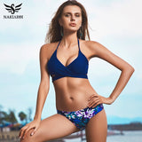 NAKIAEOI 2018 Sexy Cross Brazilian Bikinis Women Swimwear Swimsuit Push Up Bikini Set Halter Top Beach Bathing Suits Swim Wear
