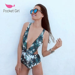Sexy One Piece Swimsuit Strappy Biquini High Waist Swimwear Women Cut Out Bodysuit Leotard Bathing Suits Monokinis Trikini