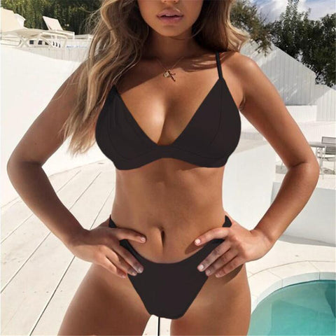 Mid Waist New Summer Women Two Pieces Bikini Set Solid High Quality Padded Push Up Swimwear Brazilian Bikini #1210