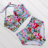 Sexy Floral Print High Waist Swimsuit Bikini Push Up Swimwear Women Vintage Biquini Bathing Suit  Maillot de Bain Femme XXL