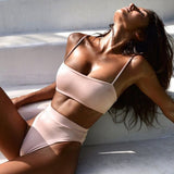 Sexy Bikinis Solid Push Up Bikini 2019 Hot Sale Padded Bra Straps High Waist Swimsuit Swimwear Women Print Biquini XL
