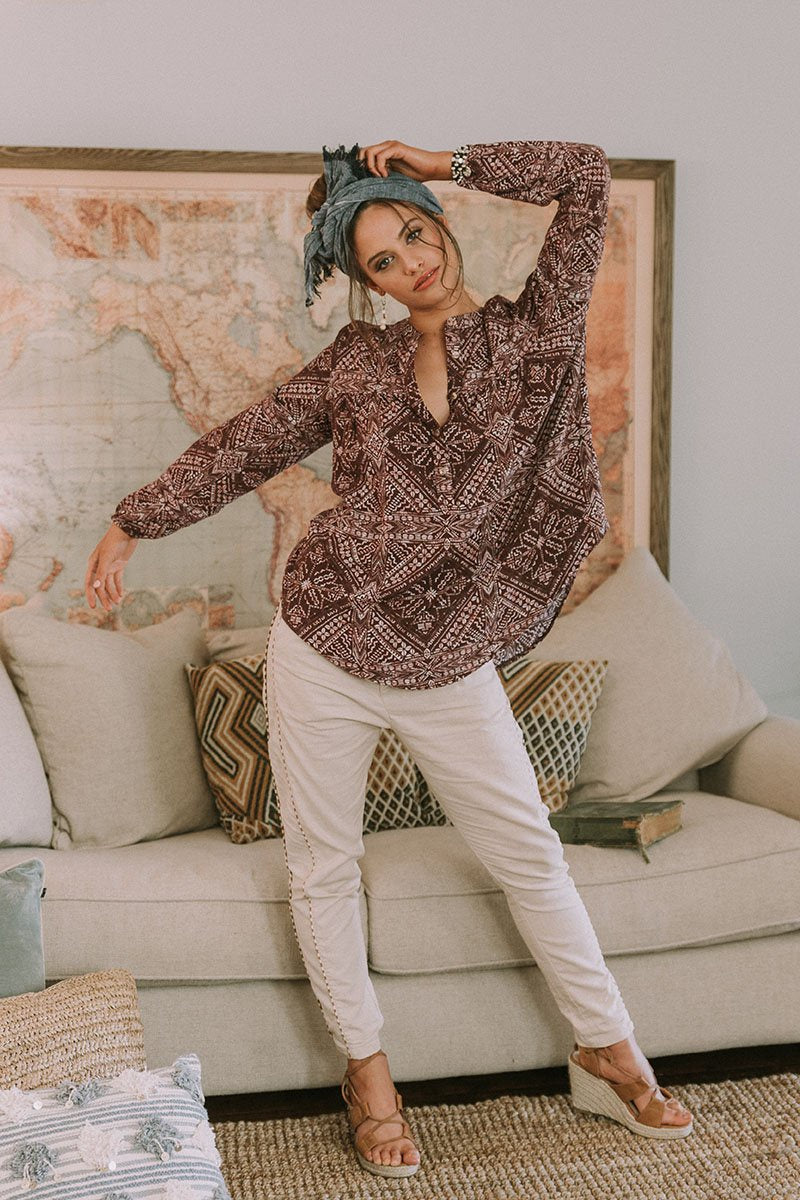 THREADED EARTH Nala Linen Pant in Sand
