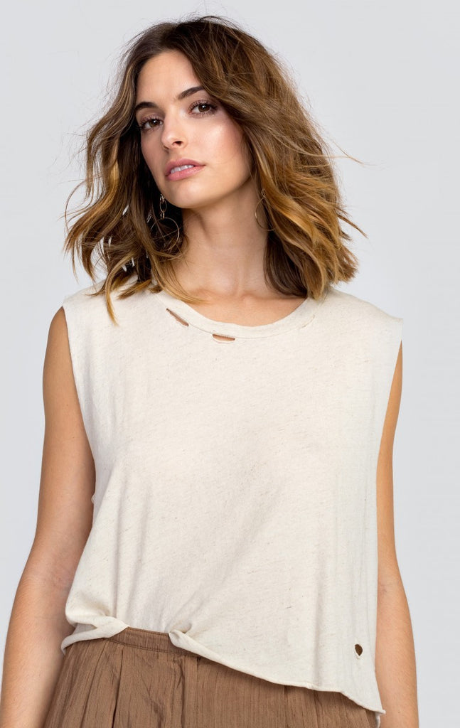 WILDFOX Essentials Linen/Jersey Tank