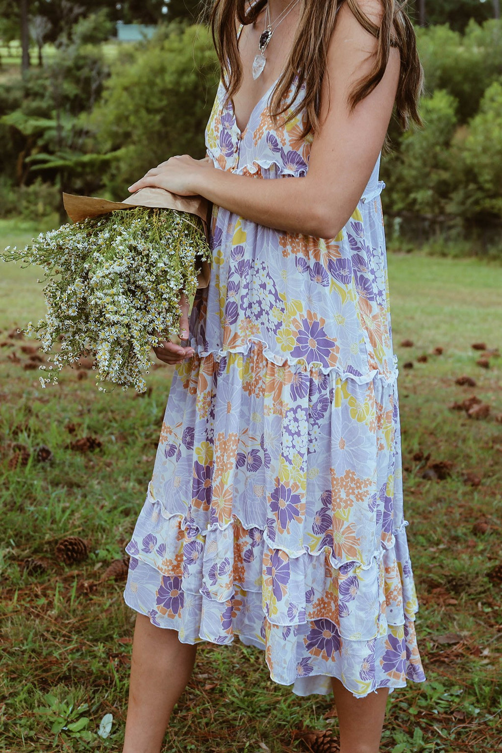 THREADED EARTH Heather Peasant Dress