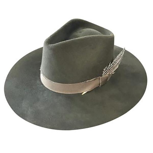 LOVELY BIRD Verona Fedora in Olive Green