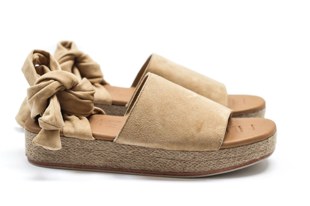 JAMES SMITH The Wrap Espadrille in Sand Suede