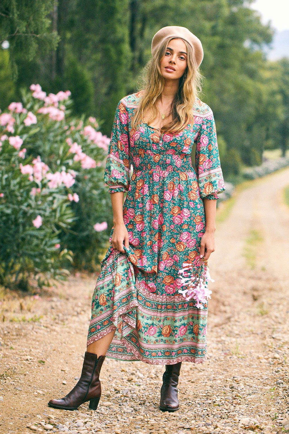 ARNHEM AMBERLEY PRAIRIE MIDI DRESS Emerald