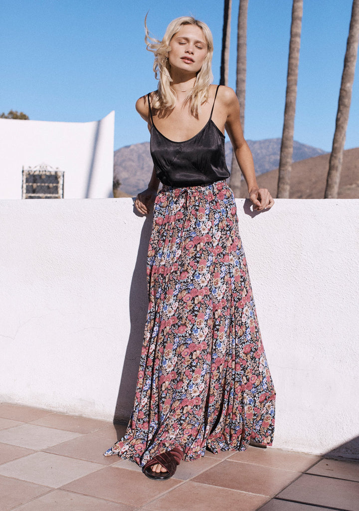 AUGUSTE Super Bloom Panelled Maxi Skirt in Charcoal