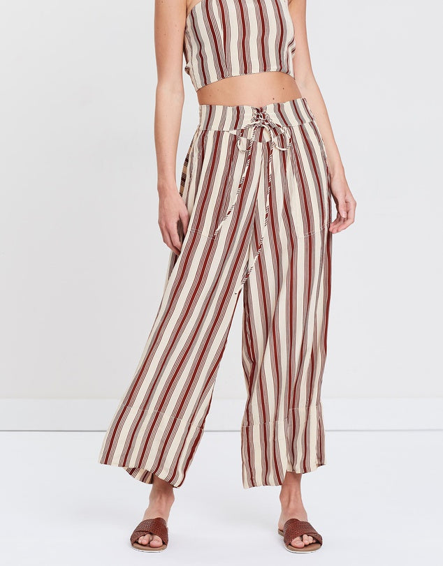 RUE STIIC Anni Laced Pant in Brown Stripe