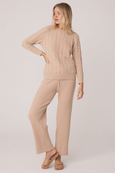 SAINT HELENA WATEGOS CABLE KNIT PANT - SAND BEIGE