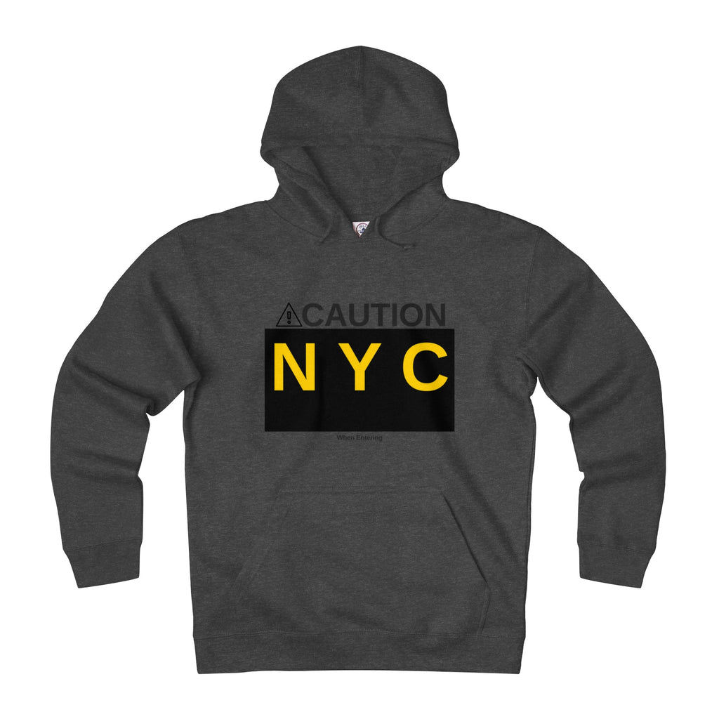 """CAUTION"" Unisex Fitted Hooded Sweatshirt"